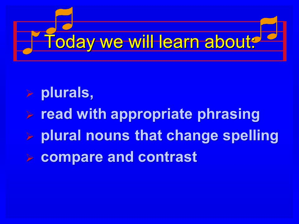 Today we will learn about:  plurals,  read with appropriate phrasing  plural nouns that change spelling  compare and contrast