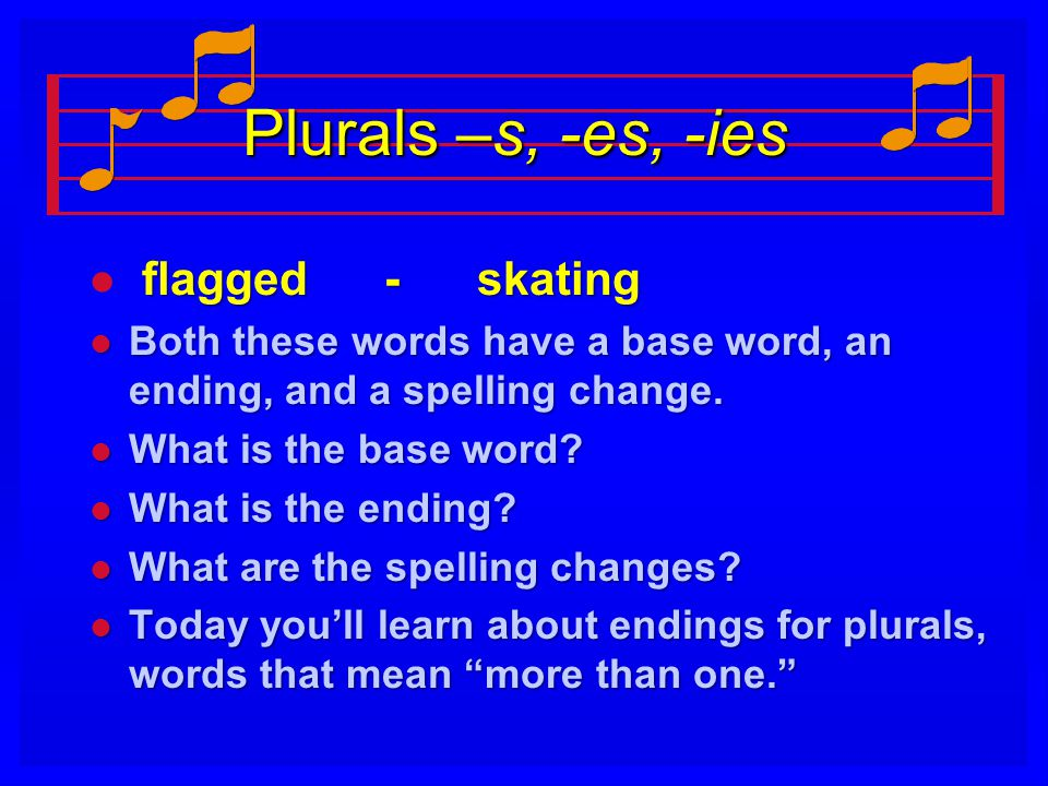 Plurals –s, -es, -ies l flagged - skating l Both these words have a base word, an ending, and a spelling change.