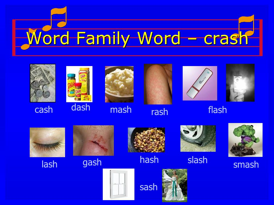 Word Family Word – crash sash cash dash mash rash flash lash gash hashslash smash