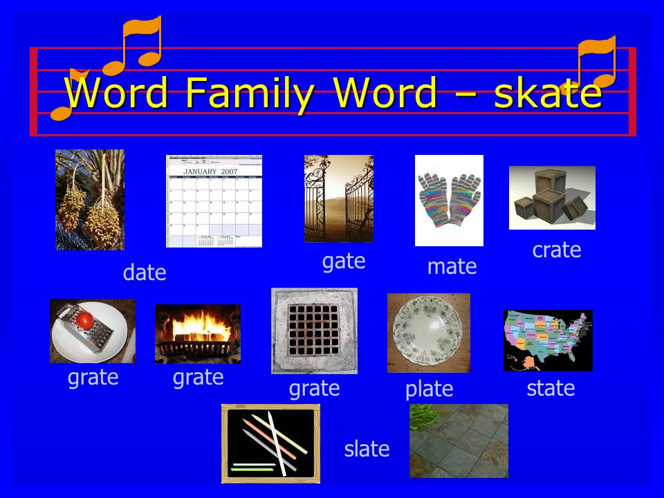 Word Family Word – skate slate grate plate state date gate mate crate