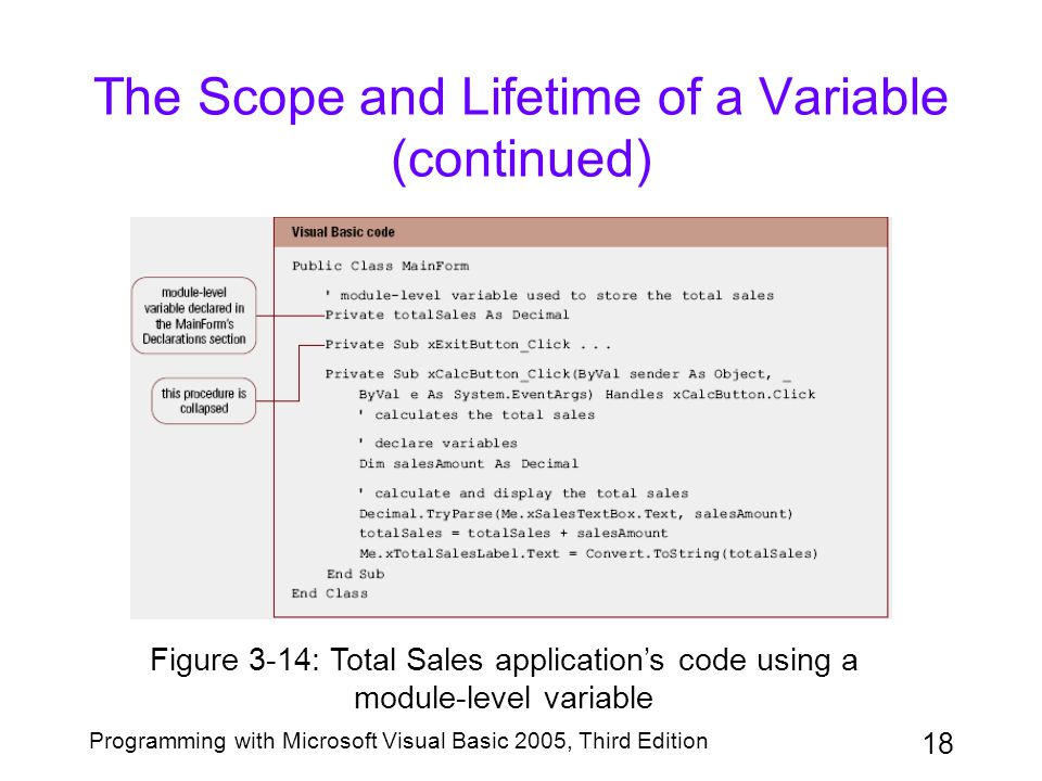 18 Programming with Microsoft Visual Basic 2005, Third Edition The Scope and Lifetime of a Variable (continued) Figure 3-14: Total Sales application's code using a module-level variable