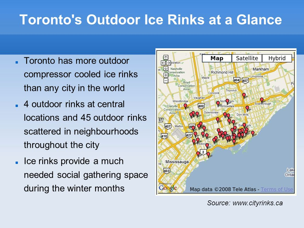 Recommendations Operate the city run outdoor ice rinks from the First of November to the end of February This will result in: Energy savings Better ice over the entire season Happier skaters