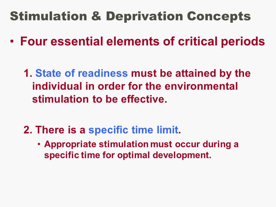 Stimulation & Deprivation Concepts Four essential elements of critical periods 1.