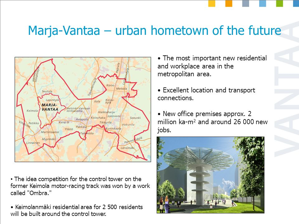 Marja-Vantaa – urban hometown of the future The most important new residential and workplace area in the metropolitan area.
