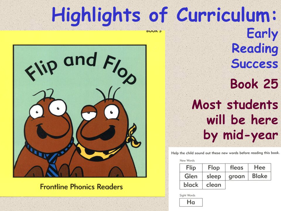 Highlights of Curriculum: Early Reading Success Book 25 Most students will be here by mid-year