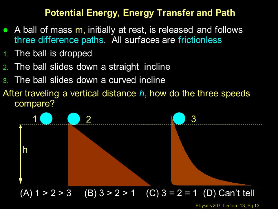 Physics 207: Lecture 13, Pg 13 Potential Energy, Energy Transfer and Path l A ball of mass m, initially at rest, is released and follows three difference paths.