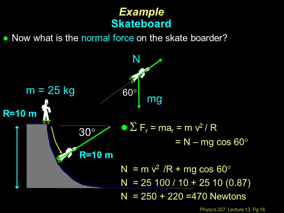 Physics 207: Lecture 13, Pg 16 l Now what is the normal force on the skate boarder.