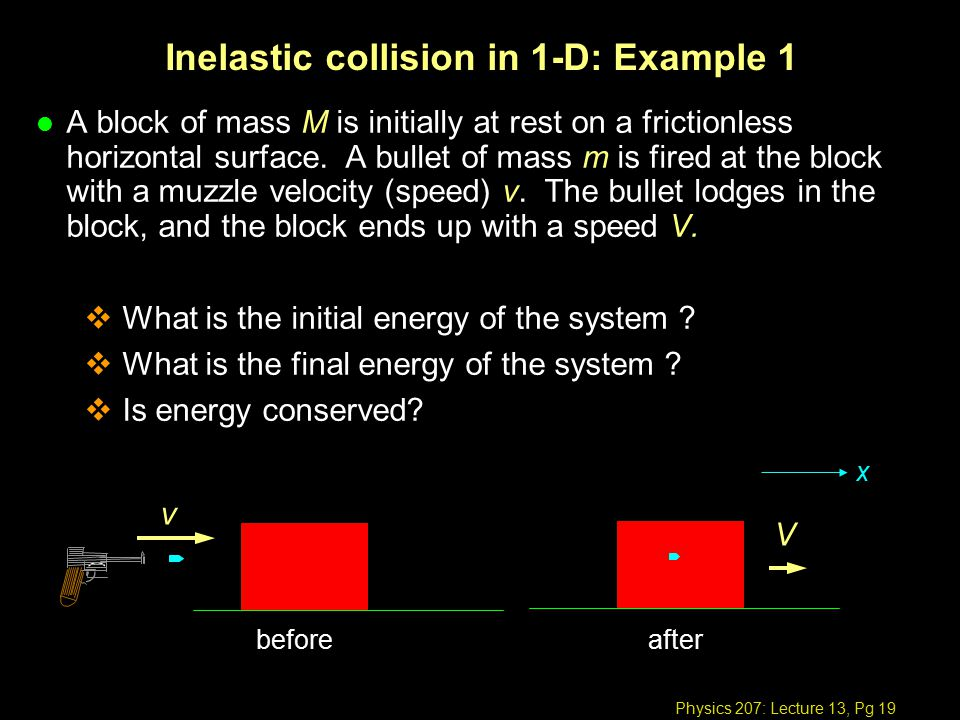 Physics 207: Lecture 13, Pg 19 Inelastic collision in 1-D: Example 1 l A block of mass M is initially at rest on a frictionless horizontal surface.