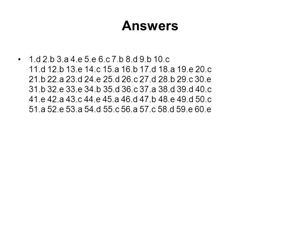 Answers 1.d 2.b 3.a 4.e 5.e 6.c 7.b 8.d 9.b 10.c 11.d 12.b 13.e 14.c 15.a 16.b 17.d 18.a 19.e 20.c 21.b 22.a 23.d 24.e 25.d 26.c 27.d 28.b 29.c 30.e 31.b 32.e 33.e 34.b 35.d 36.c 37.a 38.d 39.d 40.c 41.e 42.a 43.c 44.e 45.a 46.d 47.b 48.e 49.d 50.c 51.a 52.e 53.a 54.d 55.c 56.a 57.c 58.d 59.e 60.e