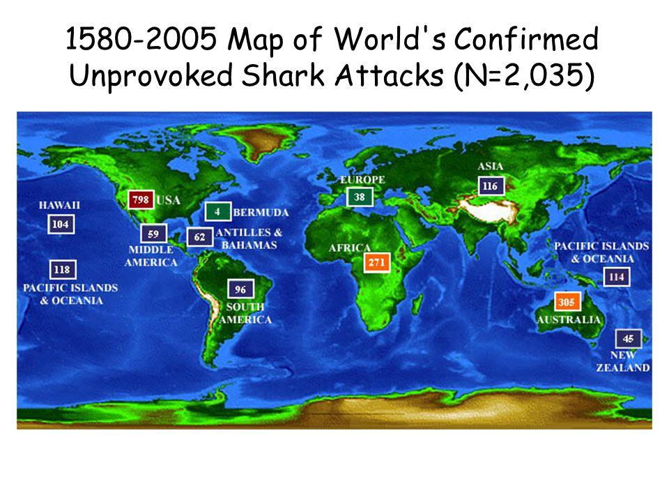 1580-2005 Map of World's Confirmed Unprovoked Shark Attacks (N=2,035)