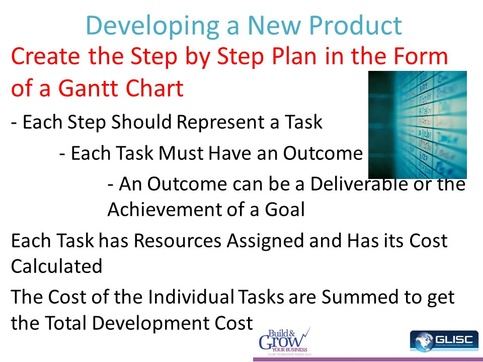 Developing a New Product Create the Step by Step Plan in the Form of a Gantt Chart - Each Step Should Represent a Task - Each Task Must Have an Outcome - An Outcome can be a Deliverable or the Achievement of a Goal Each Task has Resources Assigned and Has its Cost Calculated The Cost of the Individual Tasks are Summed to get the Total Development Cost.