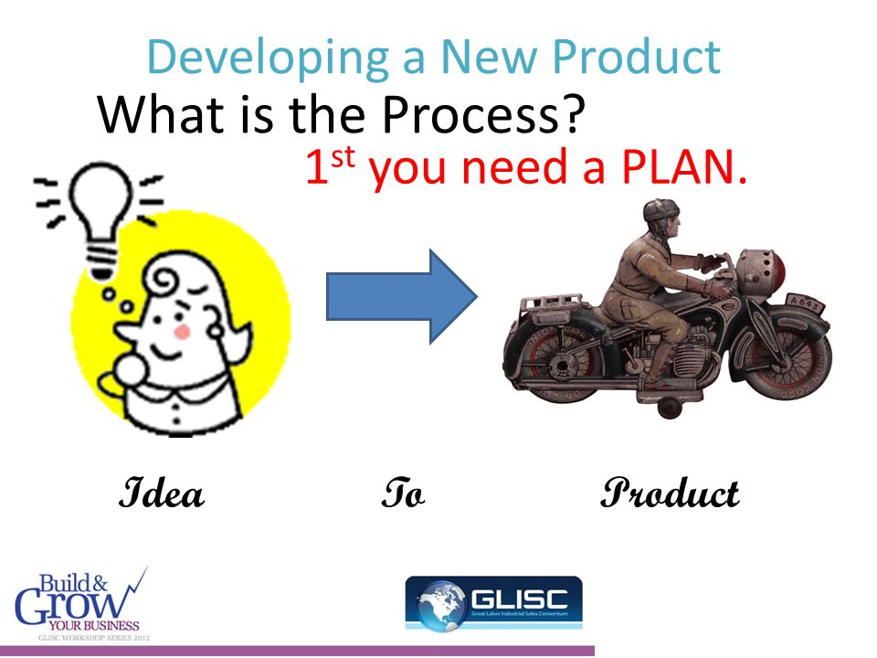 Developing a New Product IdeaTo Product What is the Process 1 st you need a PLAN.
