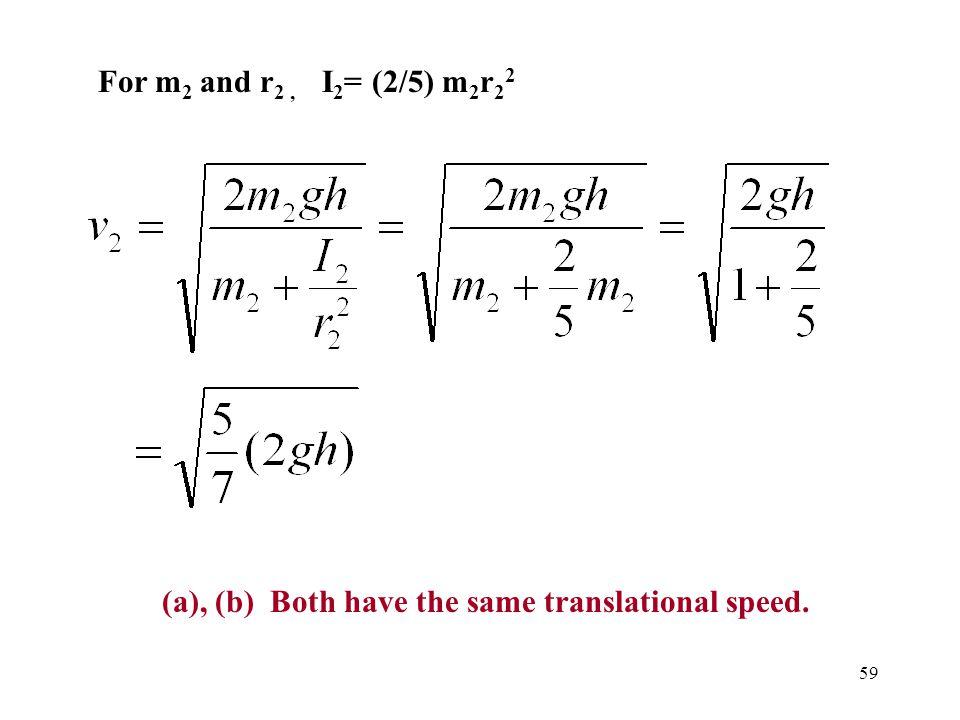 59 For m 2 and r 2, I 2 = (2/5) m 2 r 2 2 (a), (b) Both have the same translational speed.