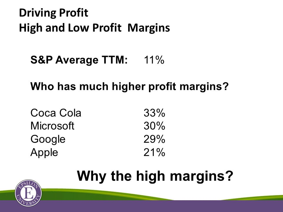 Driving Profit High and Low Profit Margins S&P Average TTM:11% Who has much higher profit margins.