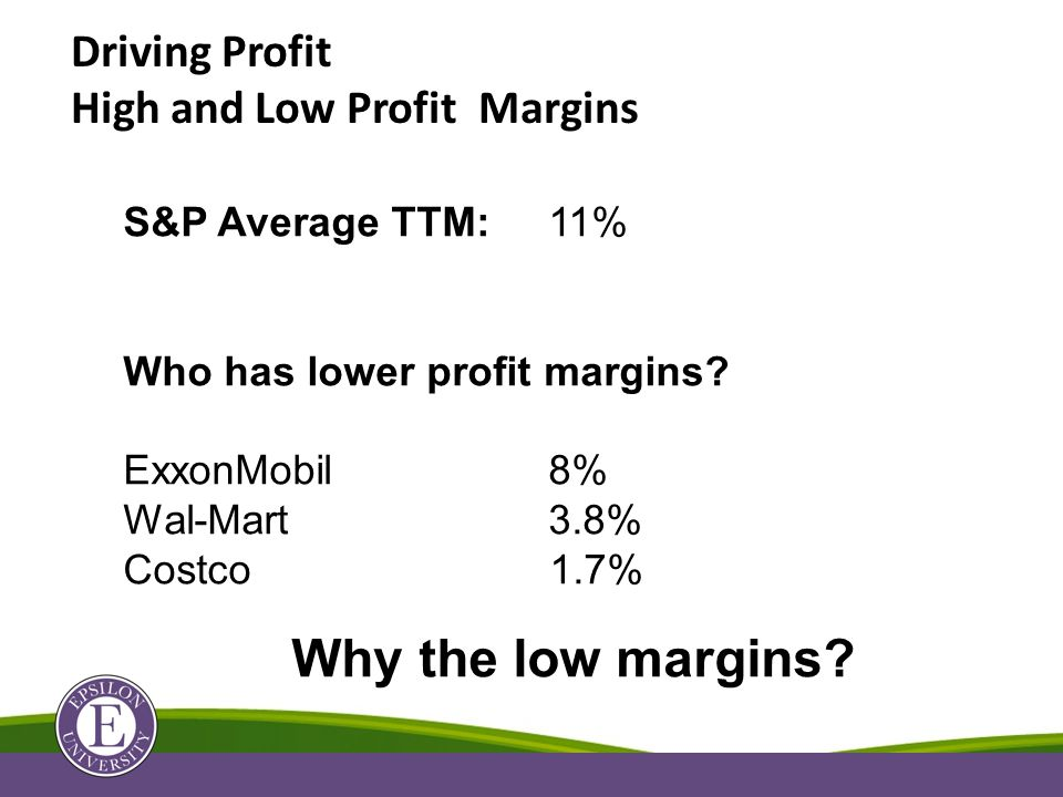 Driving Profit High and Low Profit Margins S&P Average TTM:11% Who has lower profit margins.