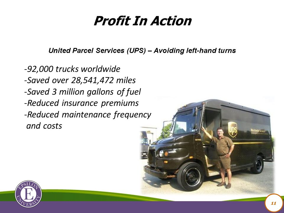 11 United Parcel Services (UPS) – Avoiding left-hand turns -92,000 trucks worldwide -Saved over 28,541,472 miles -Saved 3 million gallons of fuel -Reduced insurance premiums -Reduced maintenance frequency and costs Profit In Action