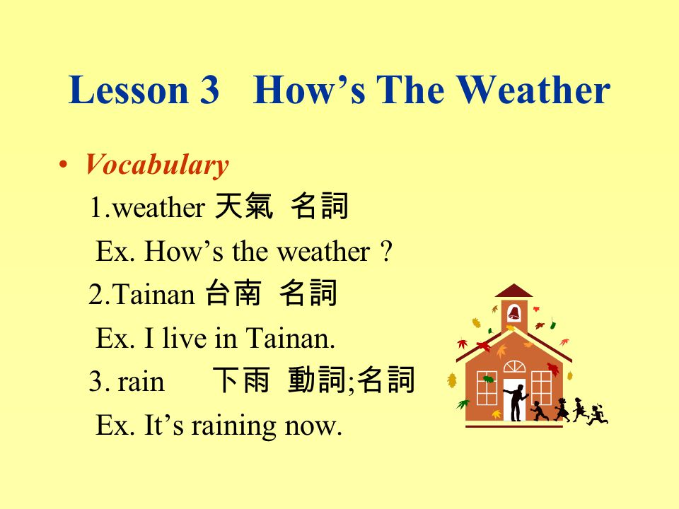 Lesson 3 How's The Weather Vocabulary 1.weather 天氣 名詞 Ex.