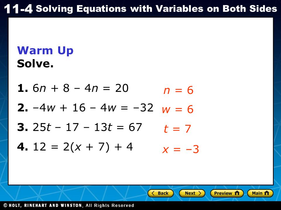 Holt CA Course 1 11-4 Solving Equations with Variables on Both Sides