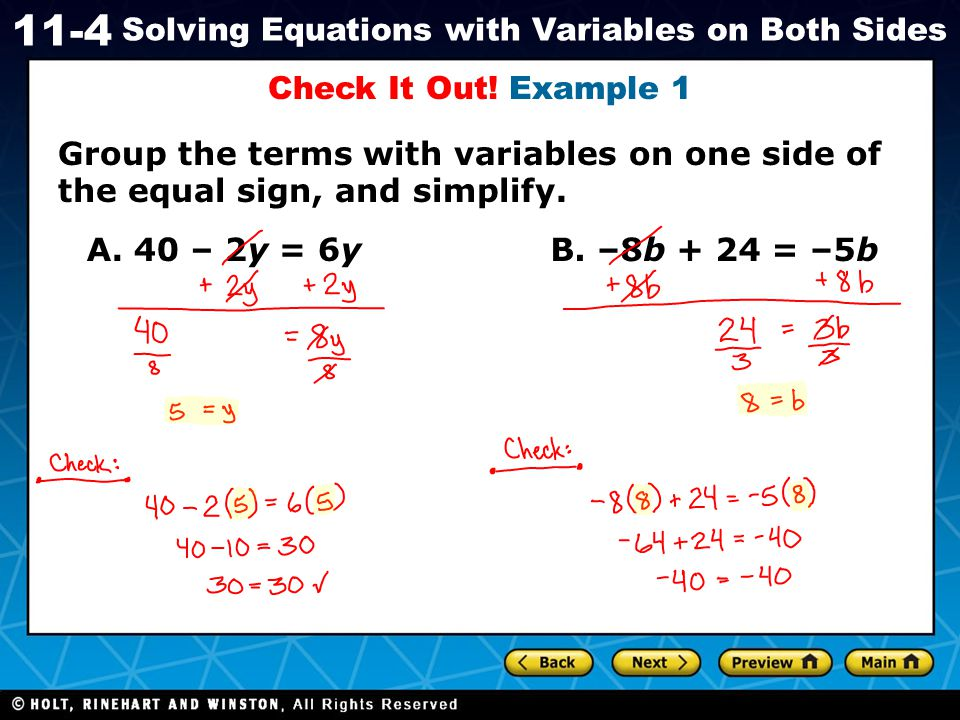 Holt CA Course 1 11-4 Solving Equations with Variables on Both Sides Solve.