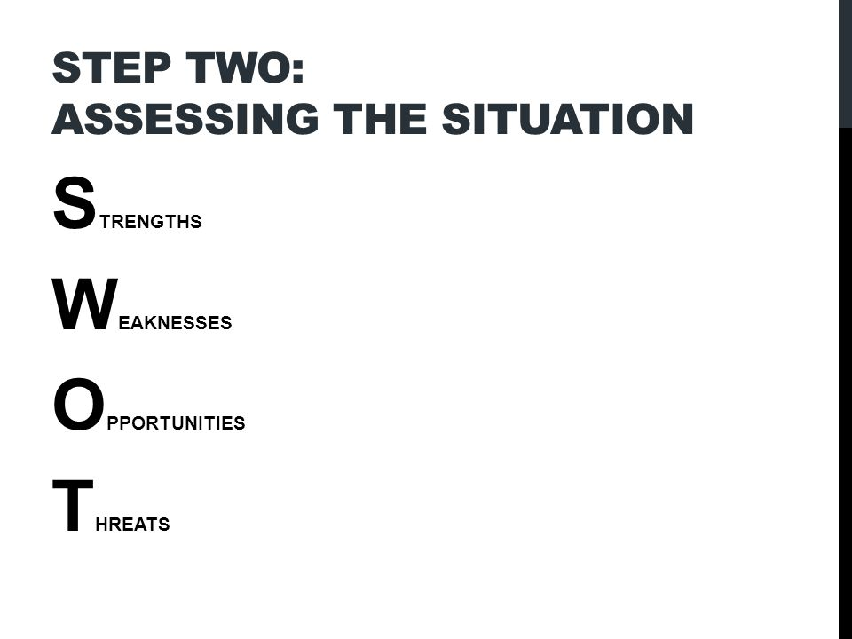 STEP TWO: ASSESSING THE SITUATION S TRENGTHS W EAKNESSES O PPORTUNITIES T HREATS
