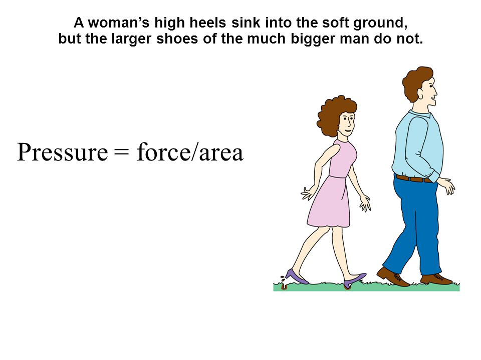 A woman's high heels sink into the soft ground, but the larger shoes of the much bigger man do not.