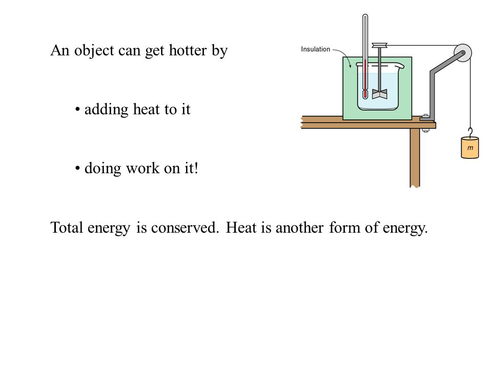 An object can get hotter by adding heat to it doing work on it.