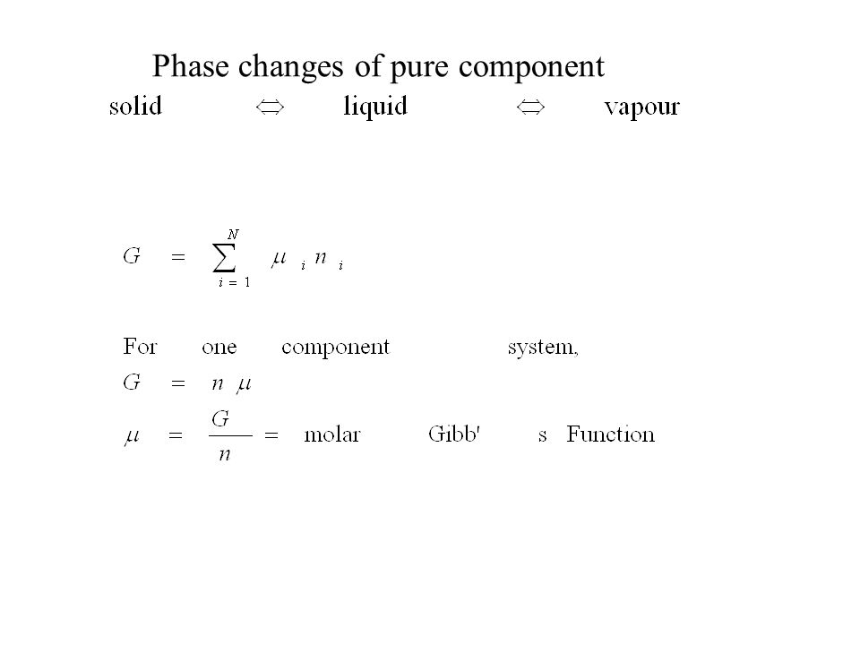 Phase changes of pure component