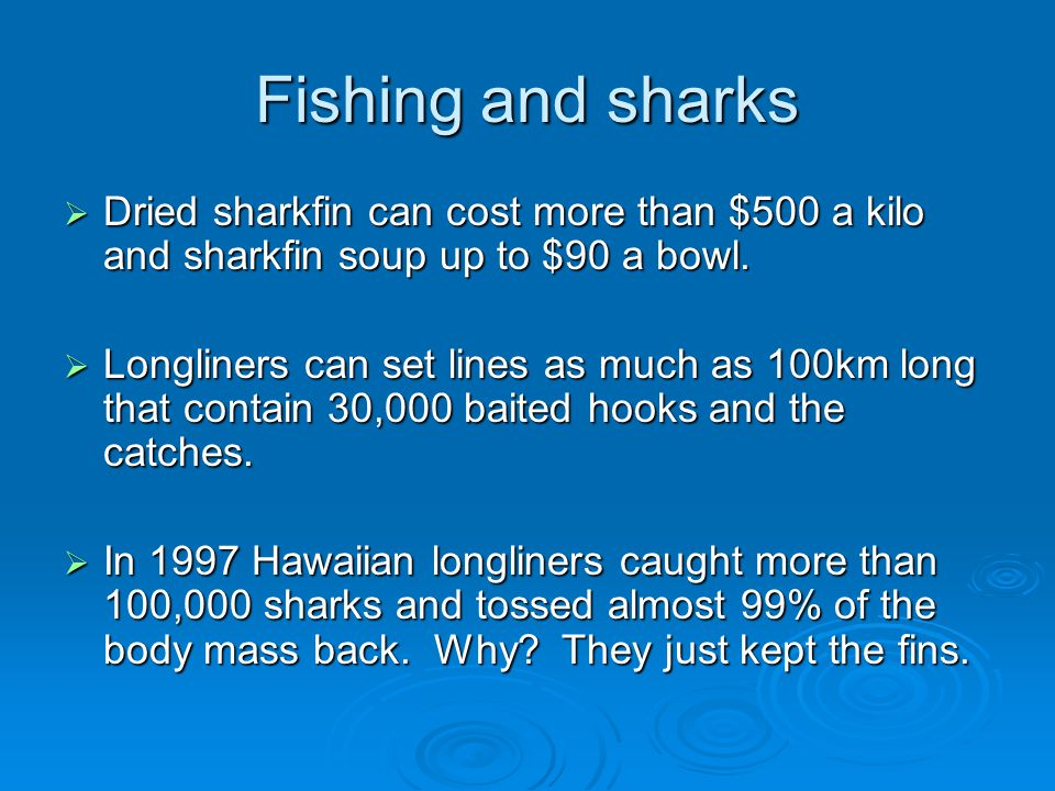 Fishing and sharks  Dried sharkfin can cost more than $500 a kilo and sharkfin soup up to $90 a bowl.  Longliners can set lines as much as 100km lon