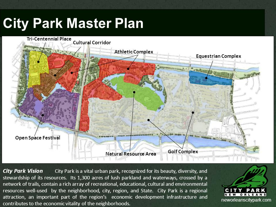 neworleanscitypark.com City Park Master Plan City Park Vision City Park is a vital urban park, recognized for its beauty, diversity, and stewardship of its resources.