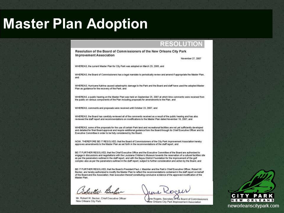 neworleanscitypark.com Master Plan Adoption