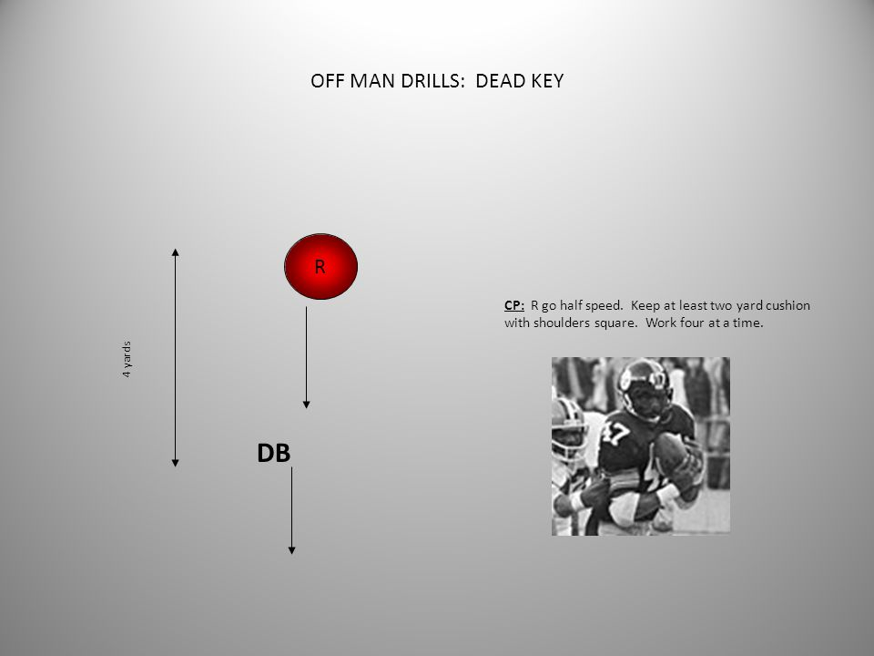 OFF MAN DRILLS: WEAVE DEAD KEY R DB CP: R take two steps straight ahead, then weave to right or left. Do not allow R to get nose up---two way go. Main