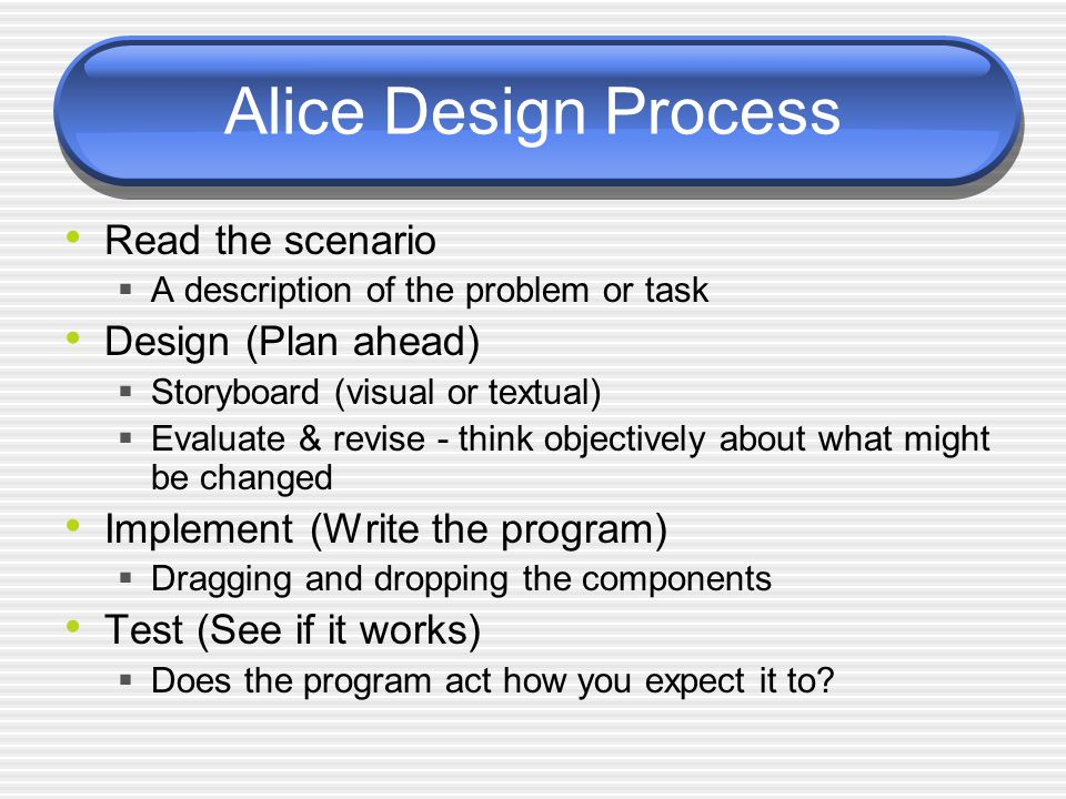 Answers to functions Each of Alice's built-in functions returns an answer The most common type of answers are:  Number  Boolean value (true or false)  String  Object