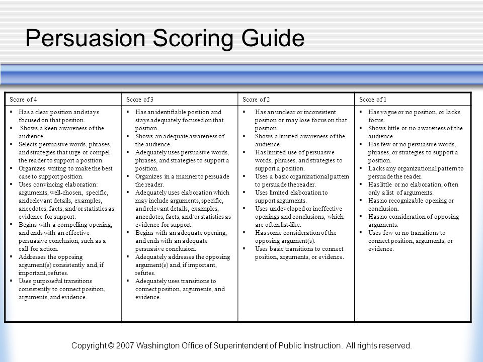 Copyright © 2007 Washington Office of Superintendent of Public Instruction. All rights reserved. Persuasion Scoring Guide Score of 4Score of 3Score of