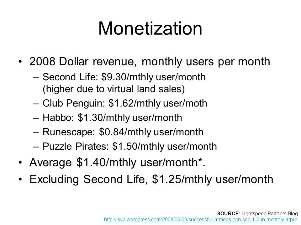 Monetization 2008 Dollar revenue, monthly users per month –Second Life: $9.30/mthly user/month (higher due to virtual land sales) –Club Penguin: $1.62/mthly user/moth –Habbo: $1.30/mthly user/month –Runescape: $0.84/mthly user/month –Puzzle Pirates: $1.50/mthly user/month Average $1.40/mthly user/month*.