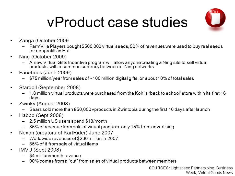 vProduct case studies Zanga (October 2009 –FarmVille Players bought $500,000 virtual seeds, 50% of revenues were used to buy real seeds for nonprofits