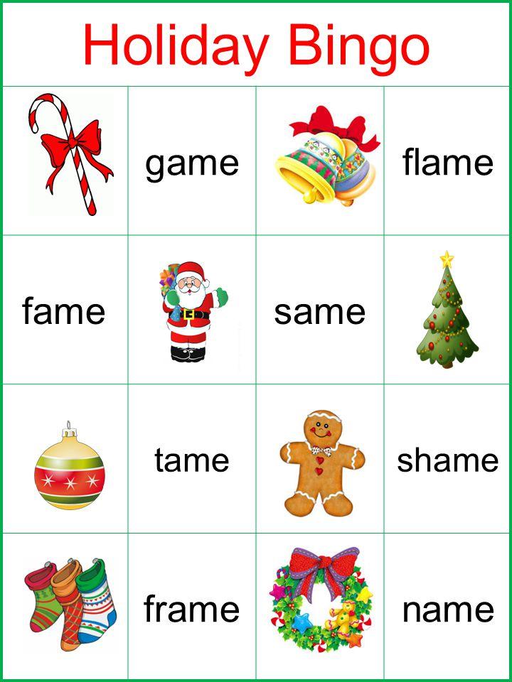 Holiday Bingo cameflame famesame dameshame framename