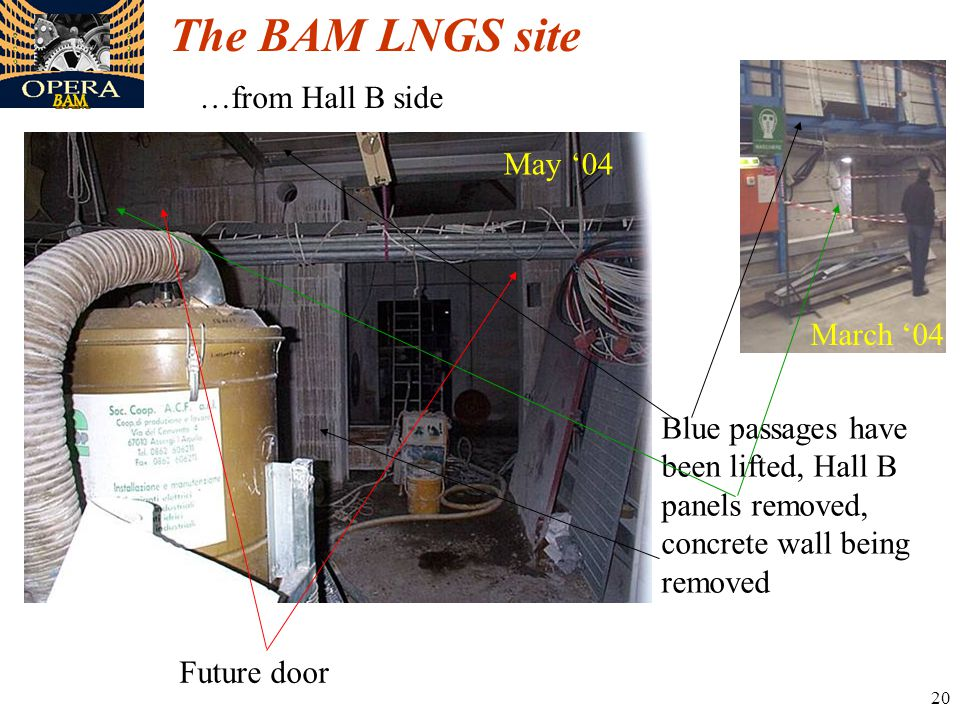 20 The BAM LNGS site …from Hall B side March '04 May '04 Blue passages have been lifted, Hall B panels removed, concrete wall being removed Future door
