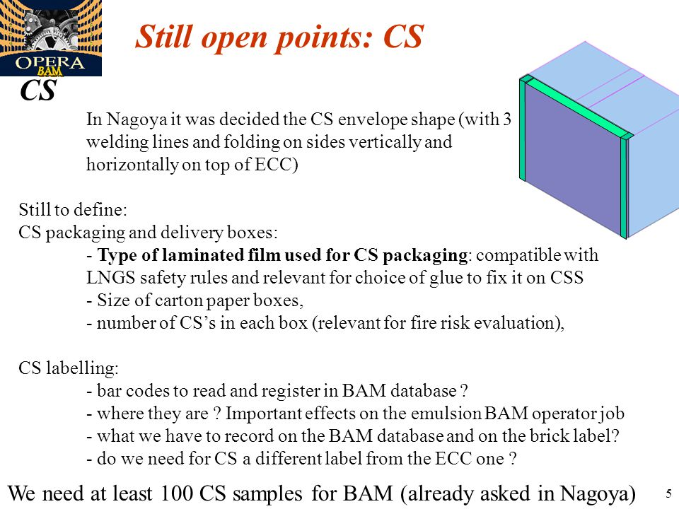 5 Still open points: CS CS In Nagoya it was decided the CS envelope shape (with 3 welding lines and folding on sides vertically and horizontally on top of ECC) Still to define: CS packaging and delivery boxes: - Type of laminated film used for CS packaging: compatible with LNGS safety rules and relevant for choice of glue to fix it on CSS - Size of carton paper boxes, - number of CS's in each box (relevant for fire risk evaluation), CS labelling: - bar codes to read and register in BAM database .