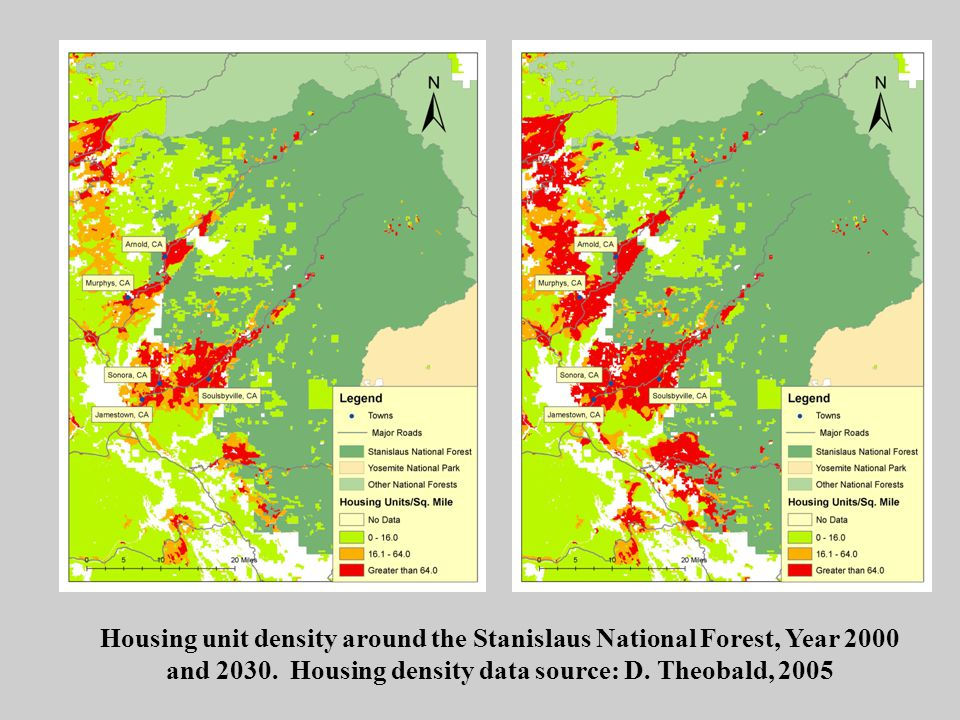 Housing unit density around the Stanislaus National Forest, Year 2000 and 2030.