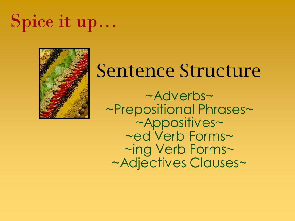 Sentence Structure ~Adverbs~ ~Prepositional Phrases~ ~Appositives~ ~ed Verb Forms~ ~ing Verb Forms~ ~Adjectives Clauses~ Spice it up…