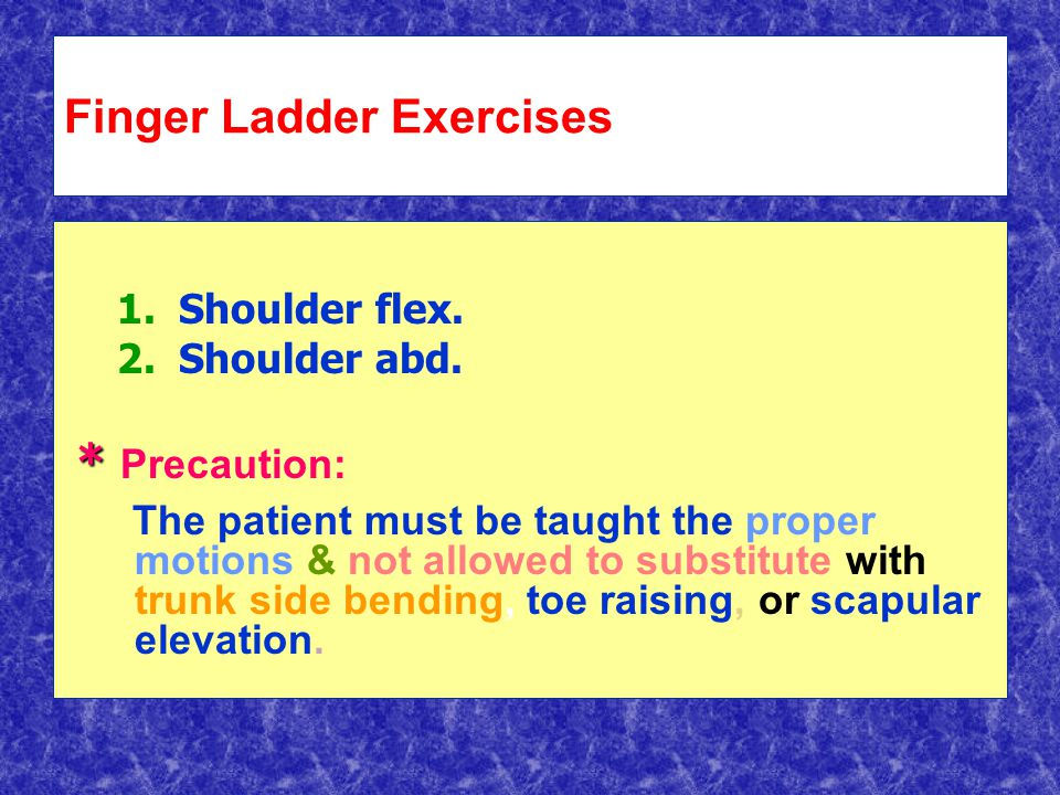 Finger Ladder Exercises 1. 1.Shoulder flex. 2. 2.Shoulder abd.