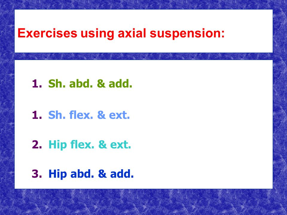 Exercises using axial suspension: 1. 1.Sh. abd. & add.