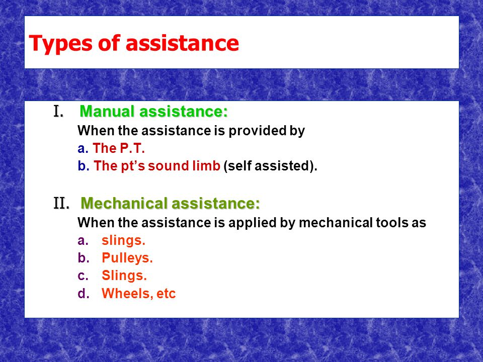 Types of assistance I. Manual assistance: When the assistance is provided by a.