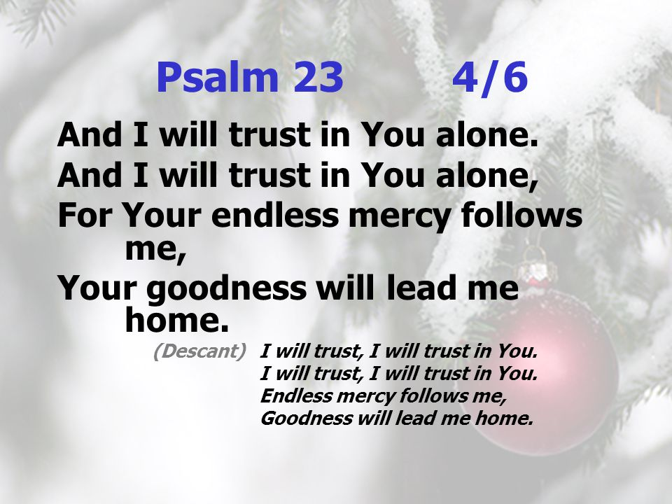 Psalm 23 4/6 And I will trust in You alone. And I will trust in You alone, For Your endless mercy follows me, Your goodness will lead me home. (Descan