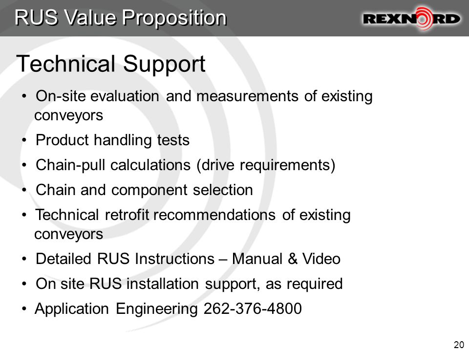 20 Technical Support RUS Value Proposition On-site evaluation and measurements of existing conveyors Product handling tests Chain-pull calculations (drive requirements) Chain and component selection Technical retrofit recommendations of existing conveyors Detailed RUS Instructions – Manual & Video On site RUS installation support, as required Application Engineering 262-376-4800