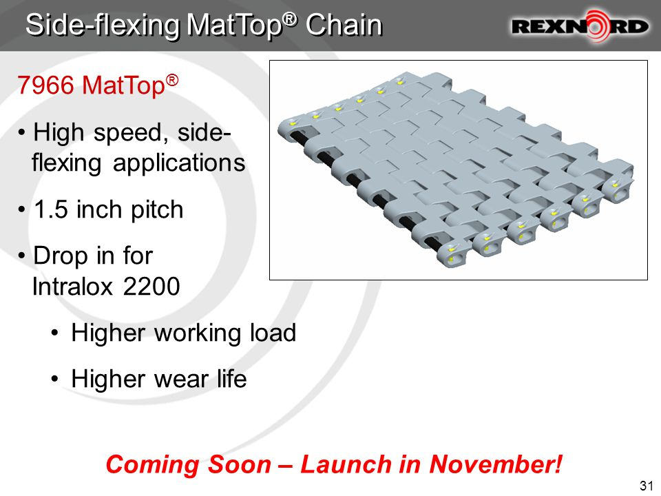 31 7966 MatTop ® High speed, side- flexing applications 1.5 inch pitch Drop in for Intralox 2200 Higher working load Higher wear life Side-flexing MatTop ® Chain Coming Soon – Launch in November!