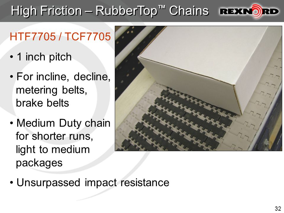 32 High Friction – RubberTop ™ Chains HTF7705 / TCF7705 1 inch pitch For incline, decline, metering belts, brake belts Medium Duty chain for shorter runs, light to medium packages Unsurpassed impact resistance
