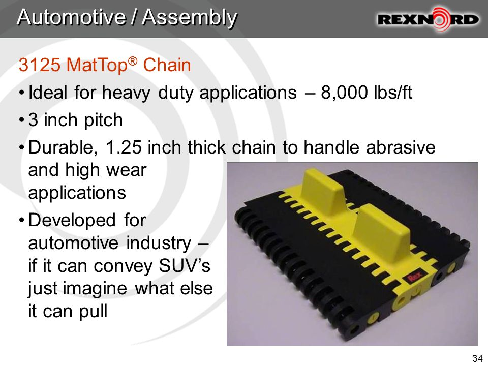 34 3125 MatTop ® Chain Ideal for heavy duty applications – 8,000 lbs/ft 3 inch pitch Durable, 1.25 inch thick chain to handle abrasive and high wear applications Developed for automotive industry – if it can convey SUV's just imagine what else it can pull Automotive / Assembly