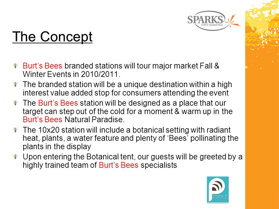 The Concept Burt's Bees branded stations will tour major market Fall & Winter Events in 2010/2011.