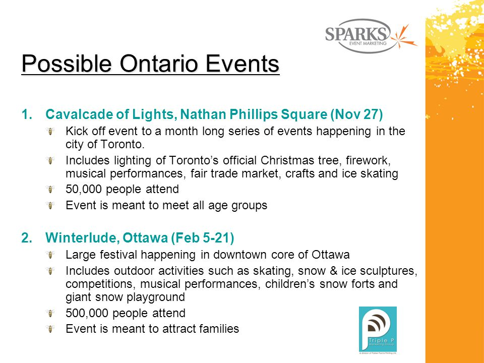 Possible Ontario Events 1.Cavalcade of Lights, Nathan Phillips Square (Nov 27) Kick off event to a month long series of events happening in the city of Toronto.